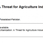 urbanization and agriculture industry